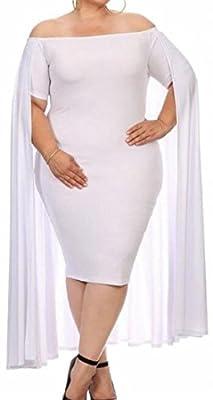 Jaycargogo Womens Shawl Sleeve Plus Size Bodycon Midi Dress