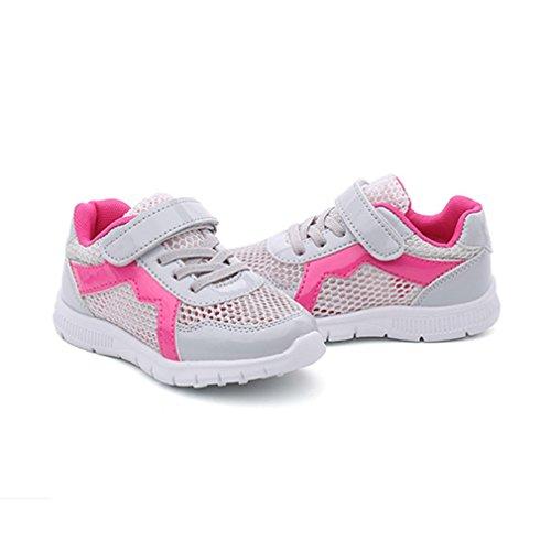 Unisex-Kinder Sneaker Laufschuhe Trekking Klettverschluss Hohl Akmungsaktiv Rutschfest Abriebfest Spotlich Schuhe Grau-Rot 28 xNYlzp