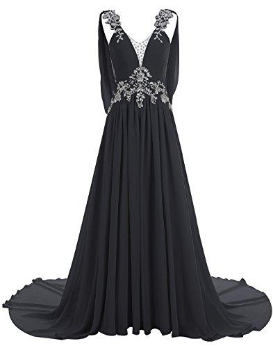 Black V Prom Evening Dress Long Dress with ALAGIRLS Beaded Train Back Chiffon Rhinestones wqBTWfX7