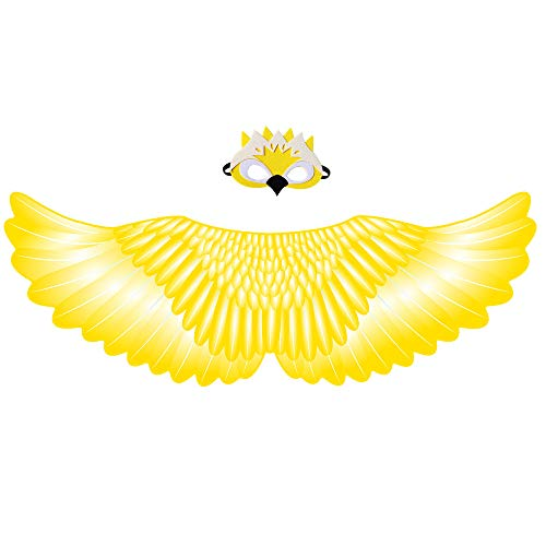 orabike Kids Adults Costume ,Parrot / Owl Wing with Mask Fancy Dress,Bird Wings Dancing Costume Accessory (Yellow Parrot)