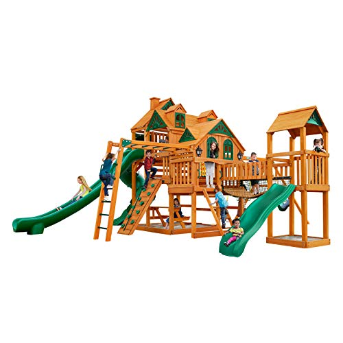 - Gorilla Playsets Empire Extreme Cedar Swing Set with Natural Cedar Posts