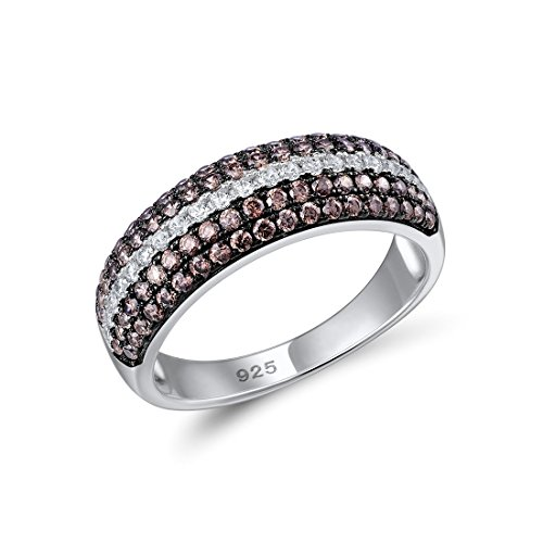 (Santuzza 925 Sterling Silver CZ and Brown CZ Wedding Band Engagement Ring)