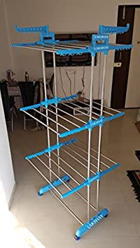 LAKSHAY Stainless Steel Pipes 3 Tier Foldable Cloth Dryer Stand/Metal Body Drying Racks at amazon