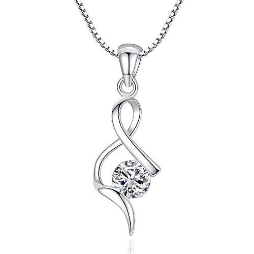 JORA 925 Sterling Silver Cubic Zirconia Infinity Love Twist Pendant Necklace, 18 inch ()