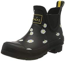 Joules Women's Wellibob Rain Boot, Black Daisy, 9 Medium US