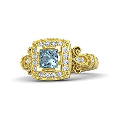 Womens Jewelry 14k Gold Plated Alloy 1.25 Ct Princess Cut Created Aquamarine & Simulated Diamond Milgrain Design Belle Princess Ring Engagement & Wedding Ring