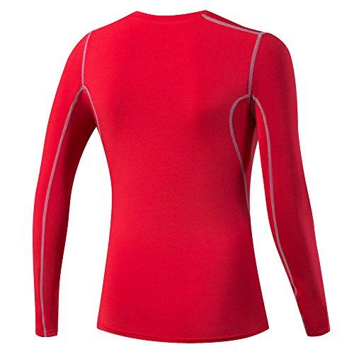 Bmeigo Mujer Training Gym manga larga T-shirts Sport Shirt con efecto de compresión Red