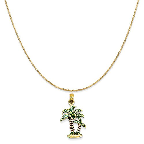Mireval 14k Yellow Gold Enameled Palm Trees Pendant on a 14K Yellow Gold Rope Chain Necklace, 18