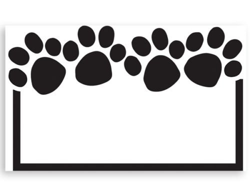 - 50ct. Black & White PAW PRINT Border Blank Florist Enclosure Cards Small Tags