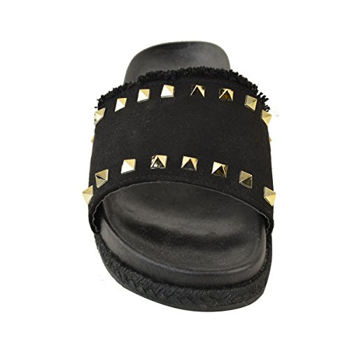 Mujer Deslizamiento Desliza Sandalias ador Plana tachuelas Thirsty Zapatillas con EN N Fashion Dise Deslizables Damas E4w5qx8