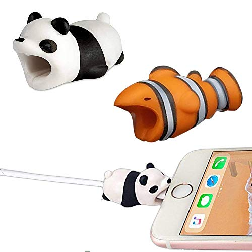 [ 2- Pack] Animal Bite Cable Protector Cable Bites Animals Phone Cord Protector For Cable Buddies Compatible iPhone iPad Charging Cords - Cable Chompers Animals iPhone Chargers (Nemo and Panda Biter)