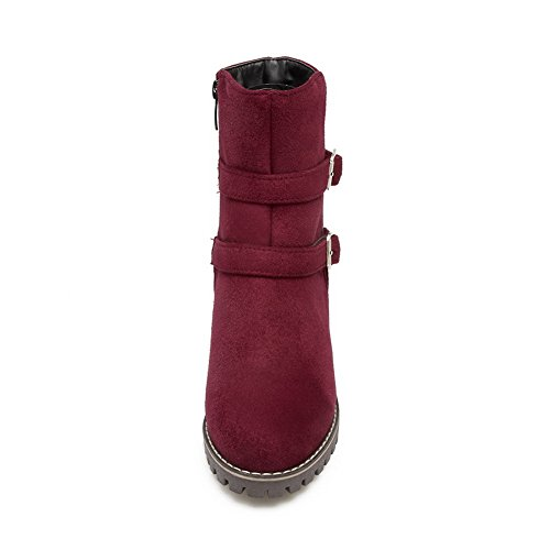 SXC02585 Metal Boots AdeeSu Multilayer polypropylene Womens Strap Zip Red Mid Calf xII6Uzq