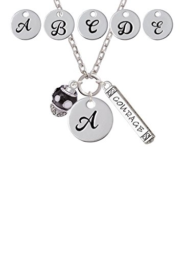 White Dots on Black Spinners Custom Initial Courage Strength Zoe Necklace