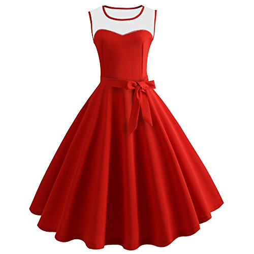 Dresses for Teen Girls Fashion Vintage Bodycon Boatneck Sleeveless A Line Sashes Tie Retro Evening Party Prom Swing Dress Red