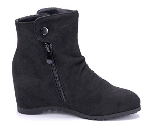 Schuhtempel24 Damen Schuhe Keilstiefeletten Stiefel Stiefeletten Boots Keilabsatz Reißverschluss/Ziersteine 7 cm Schwarz
