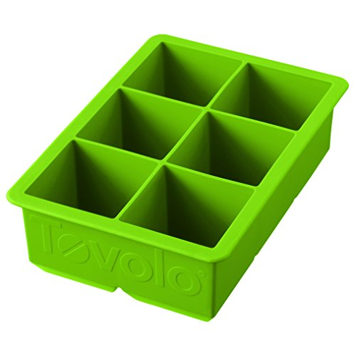 Tovolo King Cube Ice Mold Tray, Long Lasting Sturdy Silicone, Fade-Resistant, 2 Inch Cubes, Spring Green ()