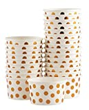 8 oz yogurt cups - Ice Cream Sundae Cups - 50-Piece Disposable Paper Dessert Ice Cream Yogurt Bowls Party Supplies, Rose Gold Foil Polka Dots Design, 8-Ounce, White