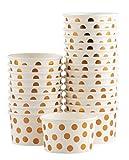 ice cream bowl paper - Ice Cream Sundae Cups - 50-Piece Disposable Paper Dessert Ice Cream Yogurt Bowls Party Supplies, Rose Gold Foil Polka Dots Design, 8-Ounce, White