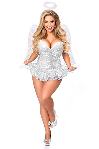 Daisy Corsets Women's Top Drawer Premium Sequin Angel Corset Dress Costume, Silver, Small