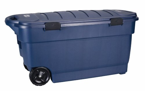 Rubbermaid Roughneck ToteLocker Wheeled Storage Container, Dark Indigo  Metallic, 45 Gallon (FG246300DIM