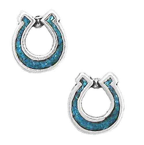925 Sterling Silver Horseshoe, Turquoise Inlay Earrings Charm Gem Stone Semi