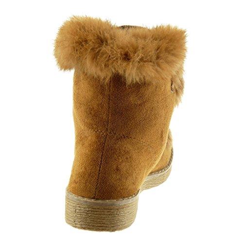 Angkorly Damen Schuhe Stiefeletten - Pelz - Fertig Steppnähte Blockabsatz High Heel 2.5 cm Camel