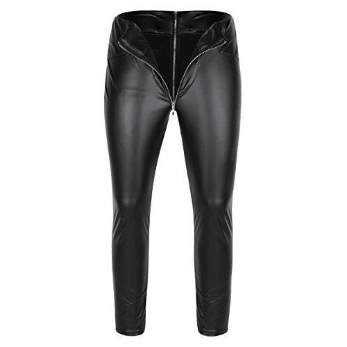 YiZYiF Men's Faux Leather Wetlook Tight Pants Leggings PVC Zipper Long Trousers Black X-Large