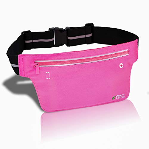 fitter's niche Ultra Slim Fanny Waist Pack Running Belt, Water Resistant Lightweight Bounce Free Fitness Workout Exercise Pouch Bag for iPhone Xs 8 Samsung Note in Biking Walking Hiking Gym Sports