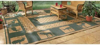 Outdoor Reversible Patio RV Mat, 9ft. x 18ft, Wilderness, Model 47948
