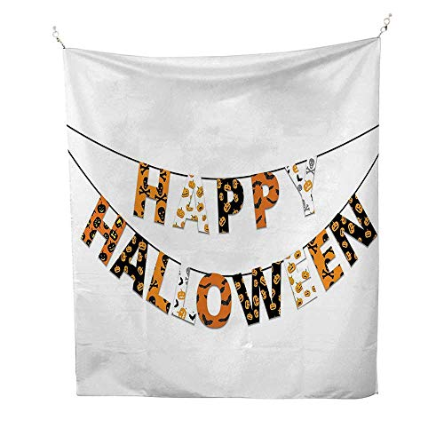 Halloweenfunny tapestryHappy Halloween Banner Greetings Pumpkins Skull Cross Bones Bats Pennant 60W x 80L inch Quote tapestryOrange Black White ()