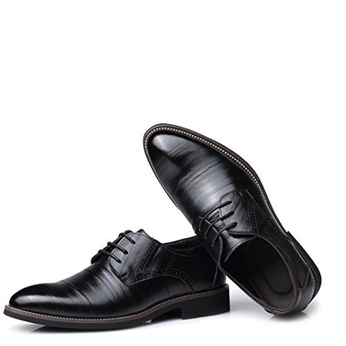 HLHN Men Leather Shoes, Pointed Toe Flat Lace up Uniform Dress Shoes Business Classical Casual Loafers Oxfords Black