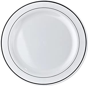 MOZAIK 20 White Silver Rim Plastic Plates 26cm  Exactly what we needed for annual bonfire night bbq. Good quality and design arrived via prime on time.  sc 1 st  Tableware Reviews & Mozaik 20 Rim Plastic Plates 26cm : Good dinner plate size ...