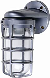 Designers Edge L1707 Outdoor Weatherproof Industrial Wall Mount Light Fixture with Metal Cage Bulb Protector, 150-Watt