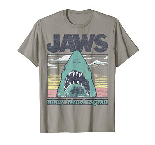 Jaws Distressed Pastel Amity Island Regatta Portrait T-Shirt