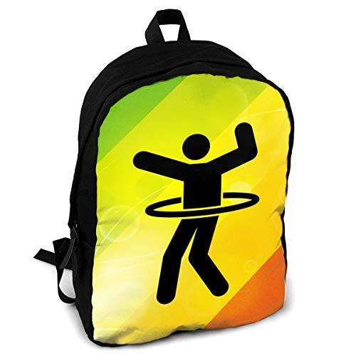 Hula Hoop Fashion Printing Adult Backpack Travel Hiking Knapsack ()