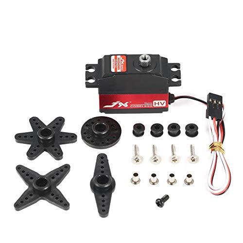 (JX PDI-HV2545MG HV Metal Gear Digital Coreless Gyro Tail Servo for RC Airplane Red & Black)
