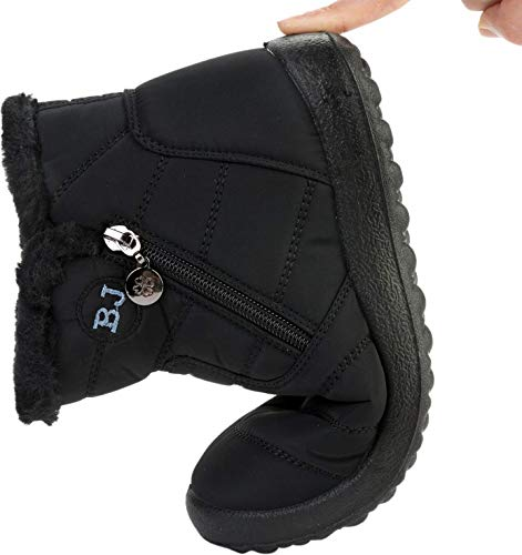 for Ankle Winter On Middle Womens Plush Black Boots Couples Flat Lining Waterproof Outdoor JOINFREE Anti Skid Slip Snow 76vqg55aw