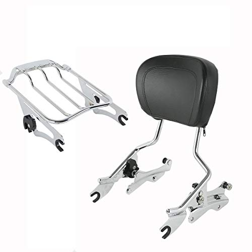 XFMT Chrome Detachables Backrest Sissy Bar Upright w/ 2 Up Air Wing Luggage Rack 4 Point Docking Hardware Kits Compatible with Harley Touring 2014-2019
