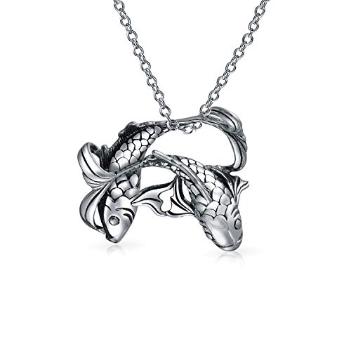 - Nautical Pisces Water Fish Zodiac Sign Astrology Horoscope Pendant For Women Necklace Antiqued 925 Sterling Silver