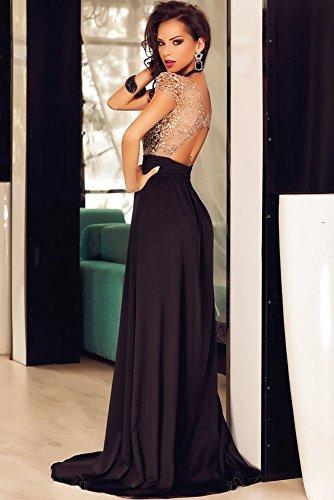 Vestido de mujer, dorado y negro con lentejuelas, para fiesta o baile, largo, espalda descubierta, talla M: Amazon.es: Bricolaje y herramientas