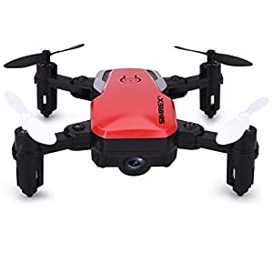 SIMREX X300C Mini Drone RC Quadcopter Foldable Altitude Hold Headless RTF 360 Degree FPV Video WiFi HD Camera 6-Axis Gyro 4CH 2.4Ghz Remote Control Super Easy Fly for Training - Red
