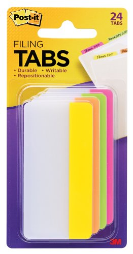 Post-it Tabs, 3-Inch Solid, Assorted Bright Colors, 6-Tabs/Color, 4-Colors, 24-Tabs/Pack