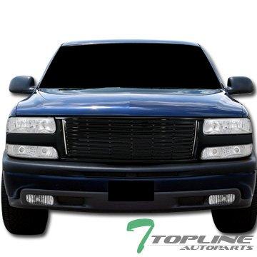 Topline Autopart Black Horizontal Front Hood Bumper Grill Grille 99-02 Silverado/00+ Tahoe Suburban (Tahoe Chevy Hood)