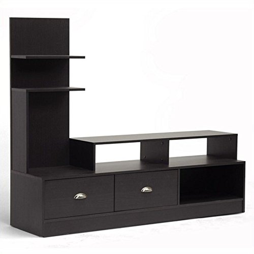 (Baxton Studio Armstrong Modern TV Stand with Built-In Vertical Side Console, Dark Brown)