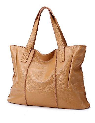 CHERRY CHICK Women's Genuine Cow Leather Soft Large Tote Purse (Apricot - Handbag Apricot Leather