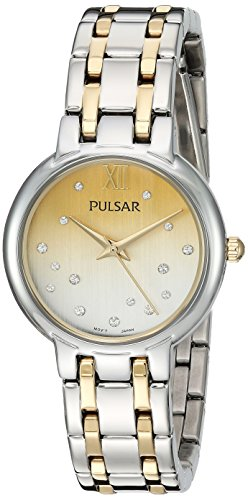 (Pulsar Women's Analog-Quartz Watch with Stainless-Steel Strap, Two Tone, 14 (Model: PH8303))