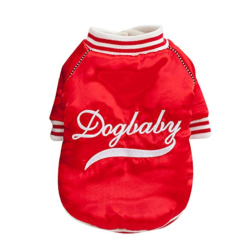 """Cat Dog Coat Jacket Pet Supplies Clothes Winter Apparel Puppy Costume Baseball Clothes """"DogBaby""""Letter Dog Classic Clothes Doggy Fashion Vest Cat Weekend Outfit Santa Claus Clothing (Red, M)"""
