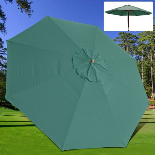 Durable Green Polyester Outdoor Patio Umbrella Replacement Canopy 13Ft Diam. Round UV Sun Block Water Resistant for Lawn Garden Top Cover Park Seat Furniture Review