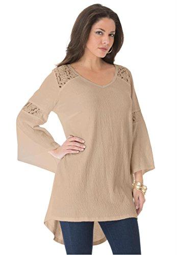 Roamans Women's Plus Size Gauze Lace Tunic (New Khaki,2X)