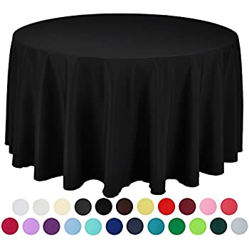 Attrayant VEEYOO 120 Inch Round Solid Polyester Tablecloth For Wedding Restaurant  Party, Black